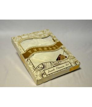 """Скатерть """"VEROLLI"""" жаккард с салфетками ETAMIN JUMNBO SET (160x220) см Белый цвет"""
