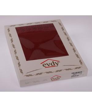 """Скатерть """"EVDY"""" KDK с гипюром прямоугольная (140х180) см Бордовый цвет"""
