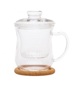 """Чашка стеклянная """"Гиацинт"""" с заварочной колбой, 300 мл"""