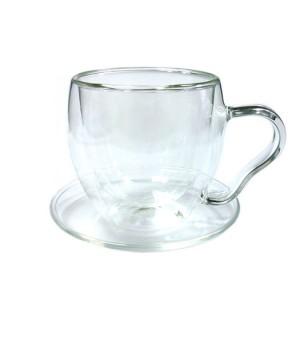 Необжигающая чашка с двойными стенками с блюдцем, объем 200 мл