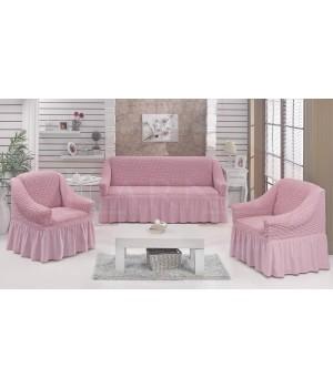 """Набор чехлов дла дивана """"BULSAN"""" 3+1+1 Светло - Розовый"""
