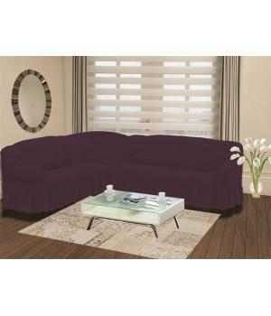 """Чехол на диван угловой левосторонний """"BULSAN"""" 2+3 посадочных мест Фиолетовый цвет"""