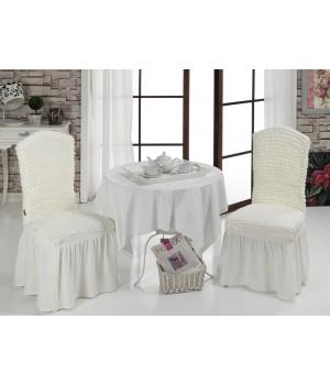 Чехлы на стулья 2 шт. Кремовый цвет