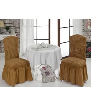 Чехлы на стулья 2 шт. Горчичный цвет