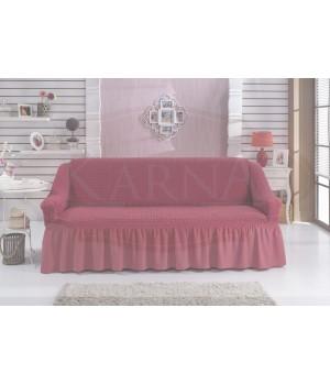 """Чехол для дивана """"BULSAN"""" двухместный Темно-розовый цвет"""