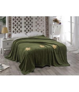 """Покрывало """"KARNA"""" вельсофт с вышивкой DAMASK 160x220 см Зеленый"""