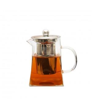 """Чайник из жаропрочного стекла 550 мл """"Версаль"""" с заварочной колбой из металла"""