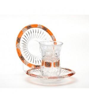 """Турецкий стакан """"Армуд"""" 6 шт с блюдцами (130 мл) в подарочной упаковке (LR-24680)"""