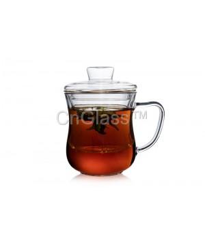 Чашка стеклянная с заварочной колбой, 300 мл