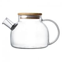 """Чайник стеклянный с деревянной крышкой """"Бочонок"""" 600 мл"""
