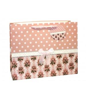 Пакет подарочный матовый ЛЮКС «ЦВЕТЫ +БАНТ» 37*37*20 см (4 цвета)