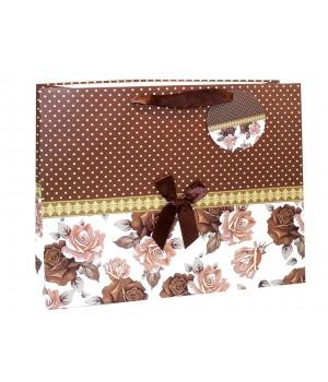 Пакет подарочный матовый ЛЮКС «ЦВЕТЫ +БАНТ» 32*26*10 см (4 цвета)