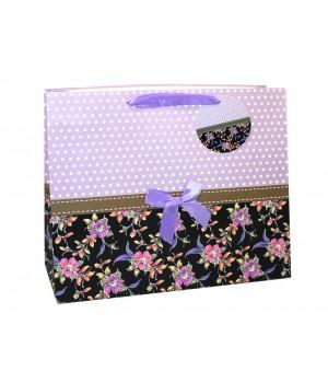 Пакет подарочный матовый ЛЮКС «ЦВЕТЫ +БАНТ» 47*47*20 см (4 цвета)